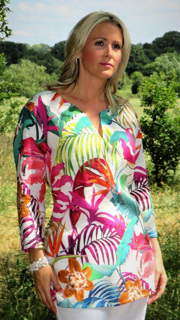 Out Of Xile Linen Kaftan Tunic Exotic Floral Print MULTICOLOUR - 1 (size 10)