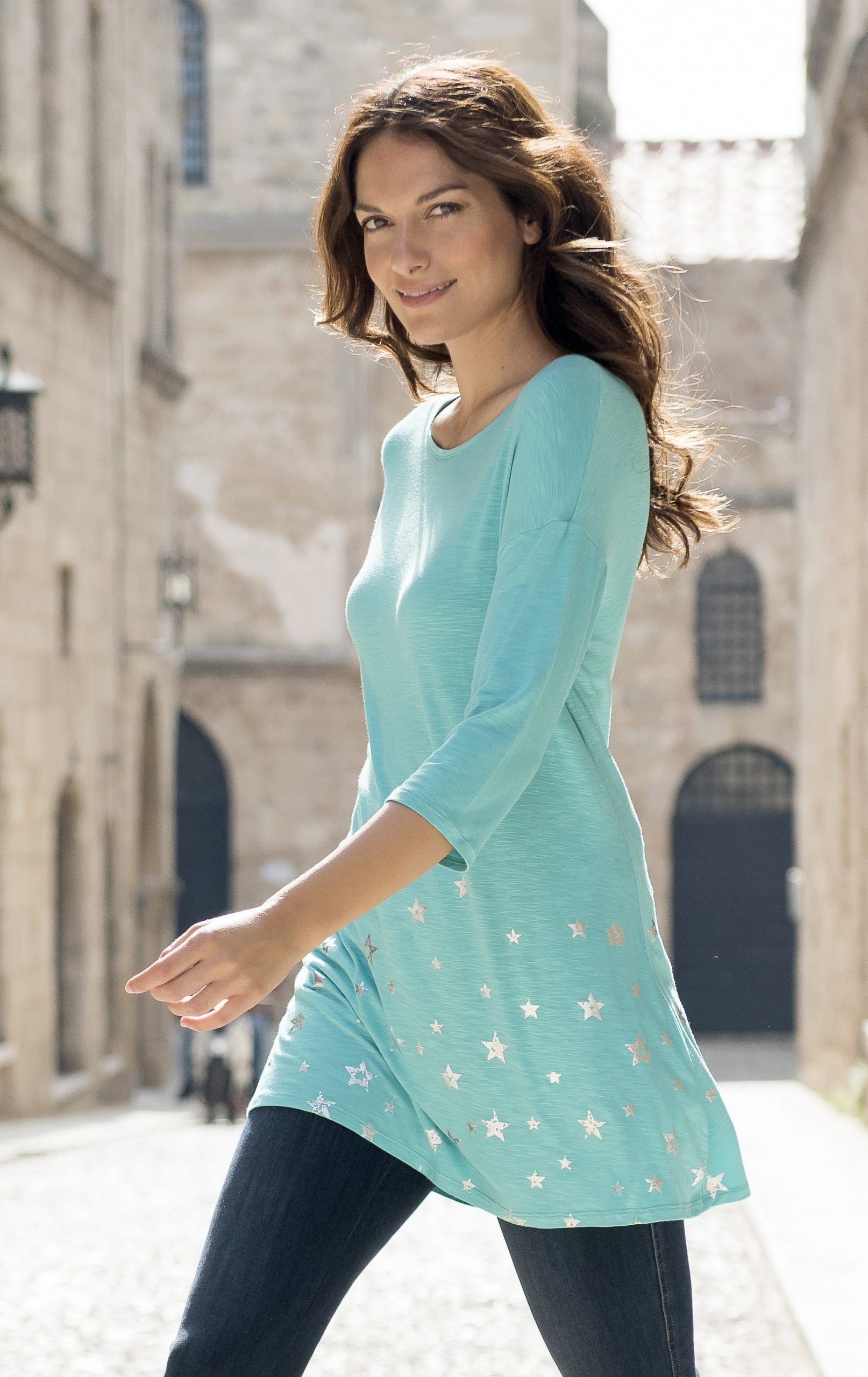 Marble Tunic Silver Stars Print Turquoise TURQUOISE - 14