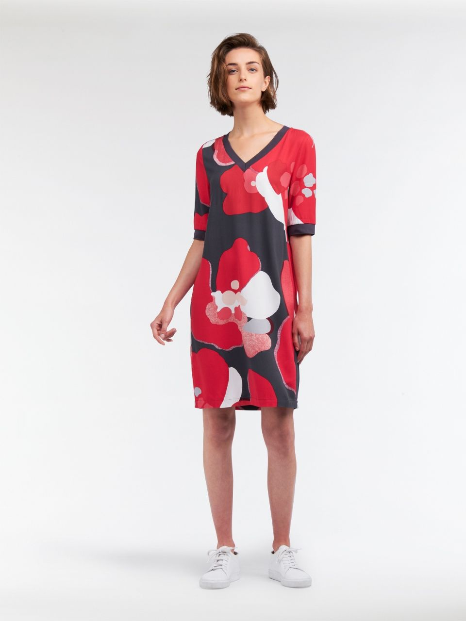 Sandwich Bold Flower Dress Fuchsia FUCHSIA - 34
