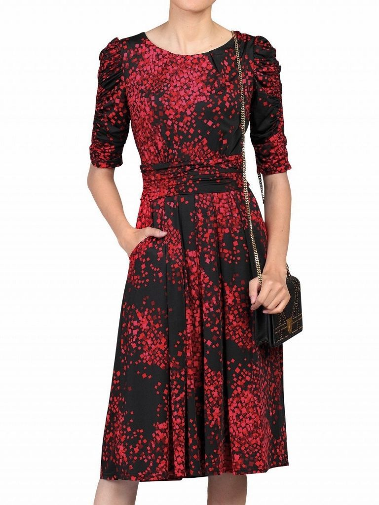 Wrap-style Geo Printed Dress Red RED - 8