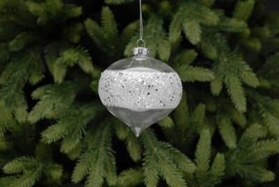 Clear glass onion shaped bauble with a very sparkly silver glitter band