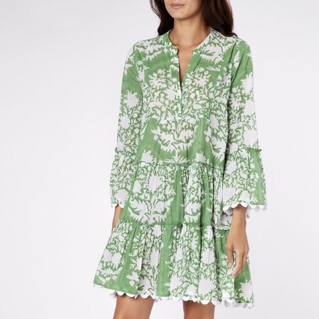 Juliet Dunn Green Flared Sleeve Dress 1