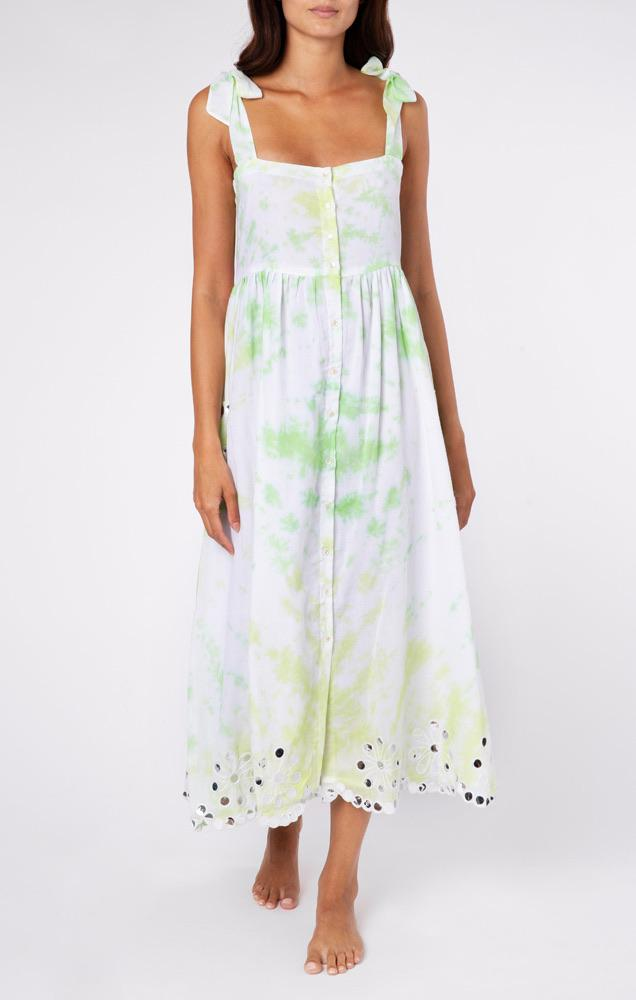 Juliet Dunn Lime Green Tie Dress 1