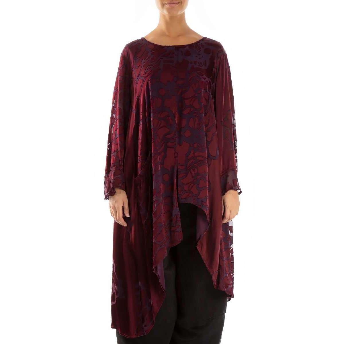 52235 Asymmetrical Floral pattern Wine Tunic