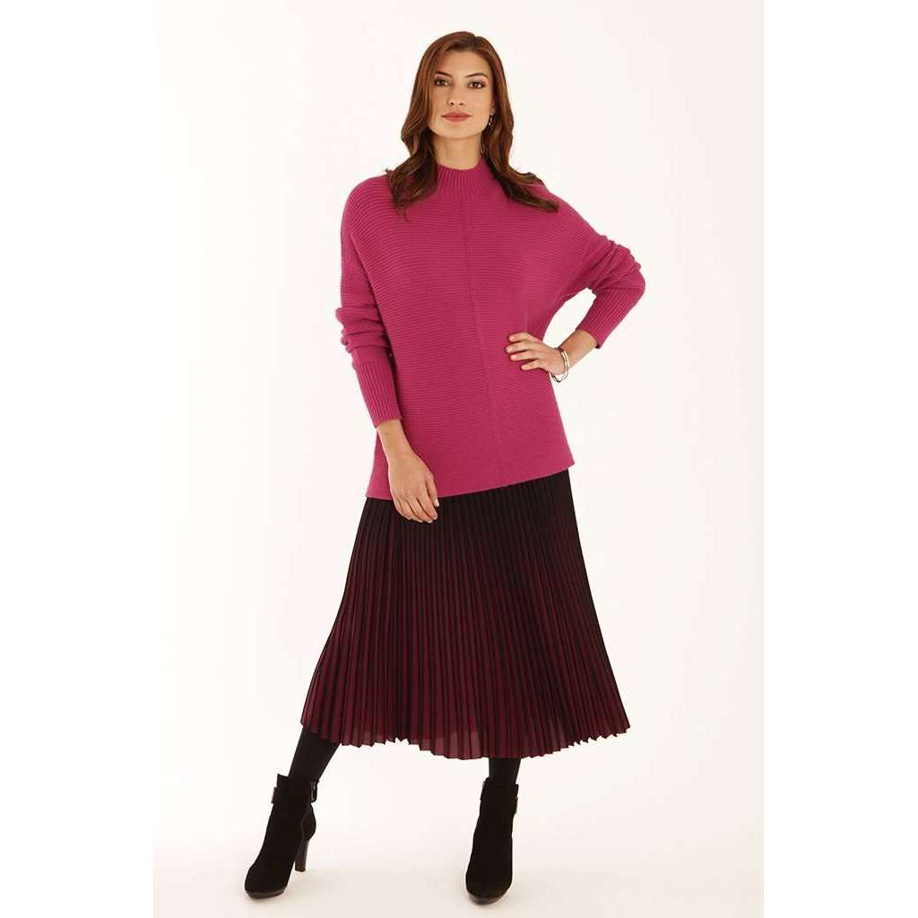 62050 Magenta Ombre Pleated Skirt