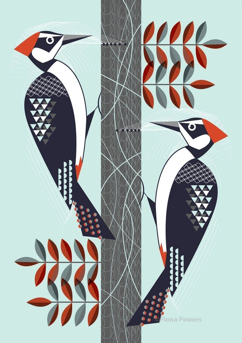 Woodpeckers limited edition giclée print A4 by FIINK Design