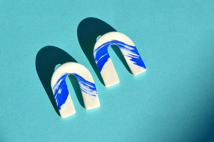 Filomena Blue Wave Clay Arches Earrings