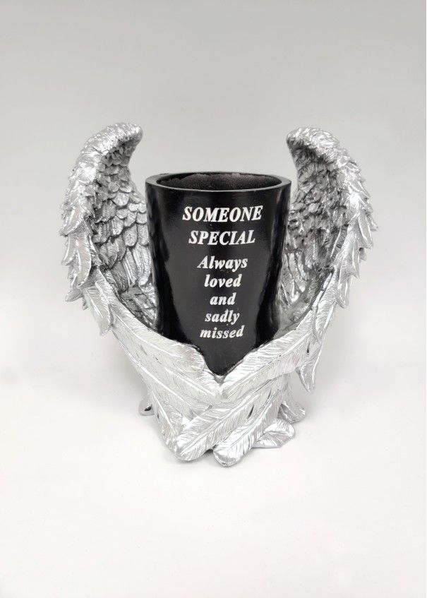 Black and Silver Angel Wings Vase - Someone Special