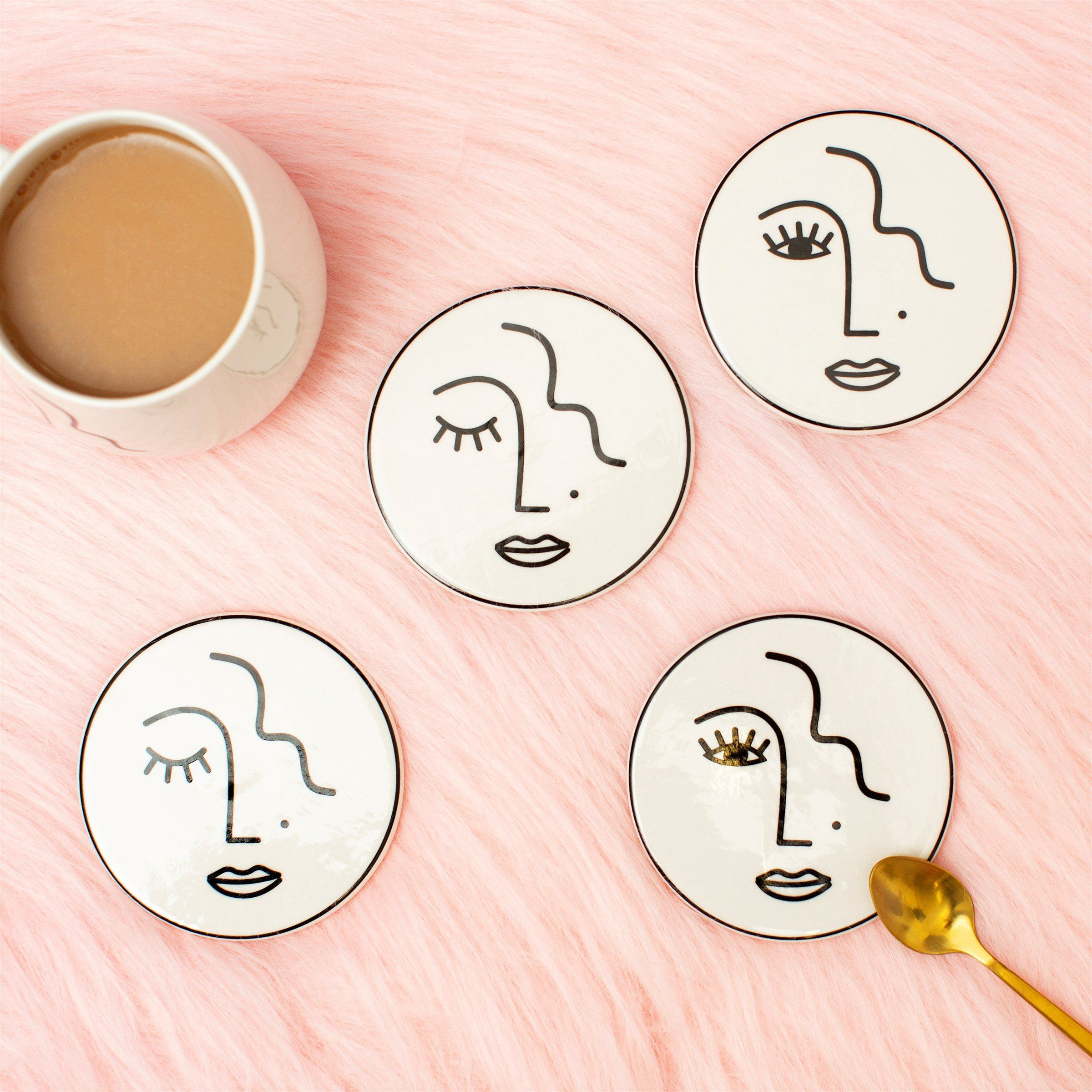 Abstract Face Coasters (pack of 4)