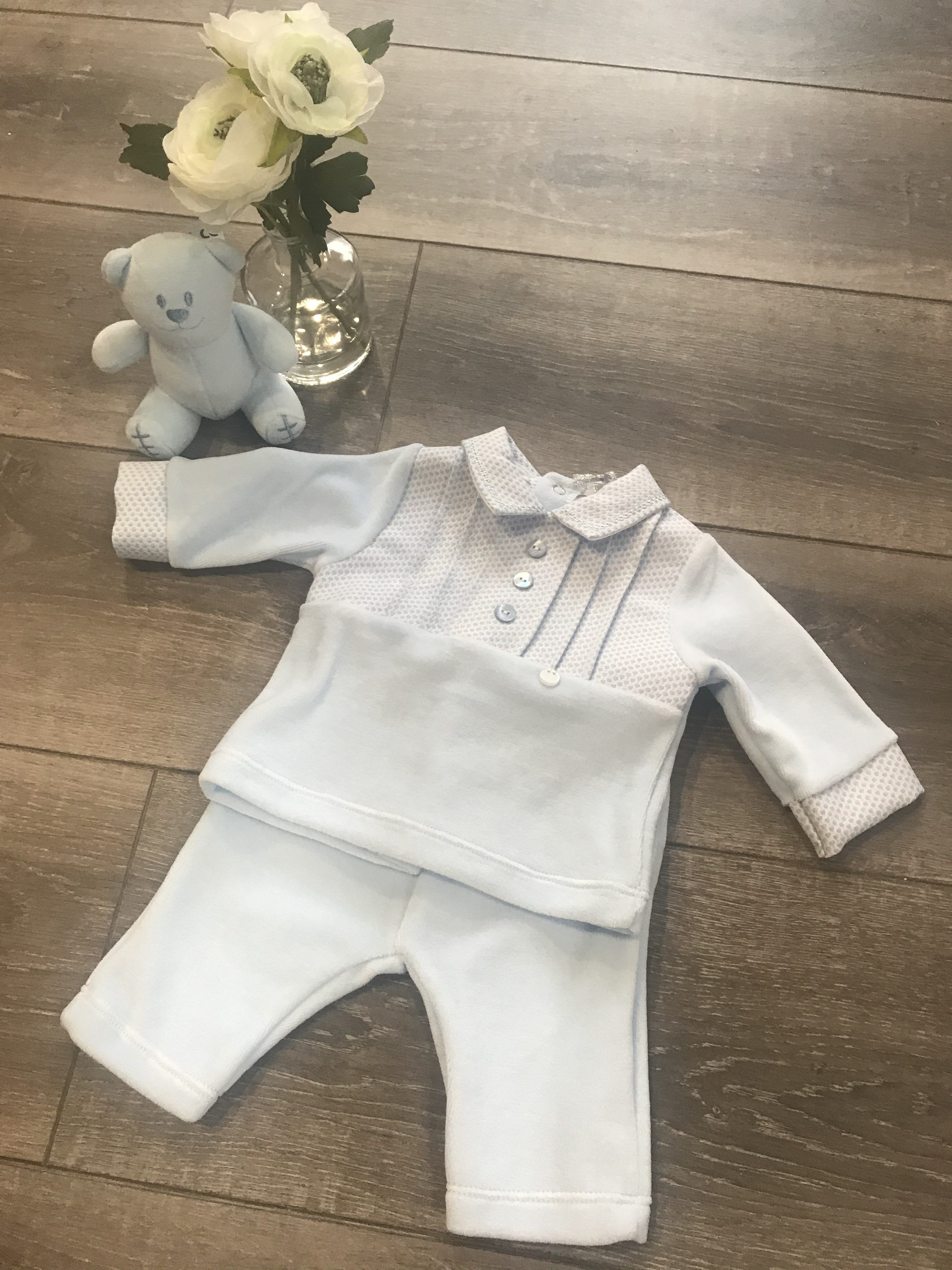 Baby Boy Blue Velour Tracksuit with Traditional Collar