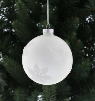 10cm frosted white bauble