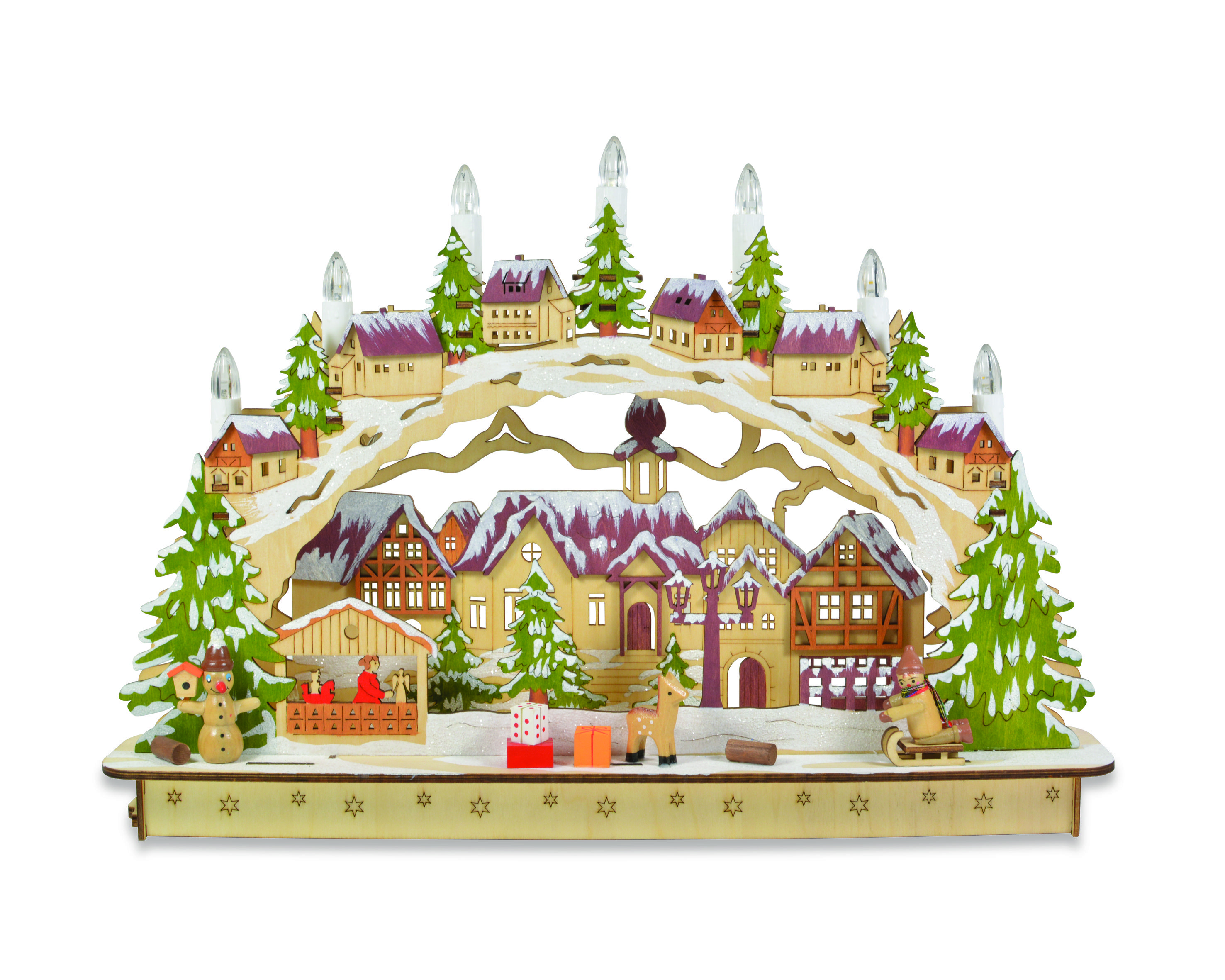 Candle arch with lovely village scene