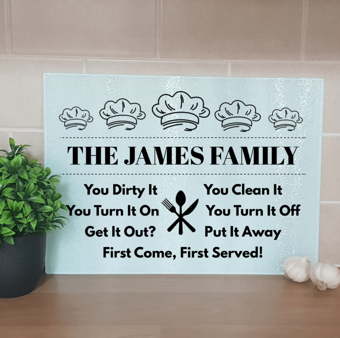 Family Kitchen Chefs Hat Glass Chopping Board