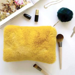 Lisa Angel Faux Fur Mustard and Teal Pouch