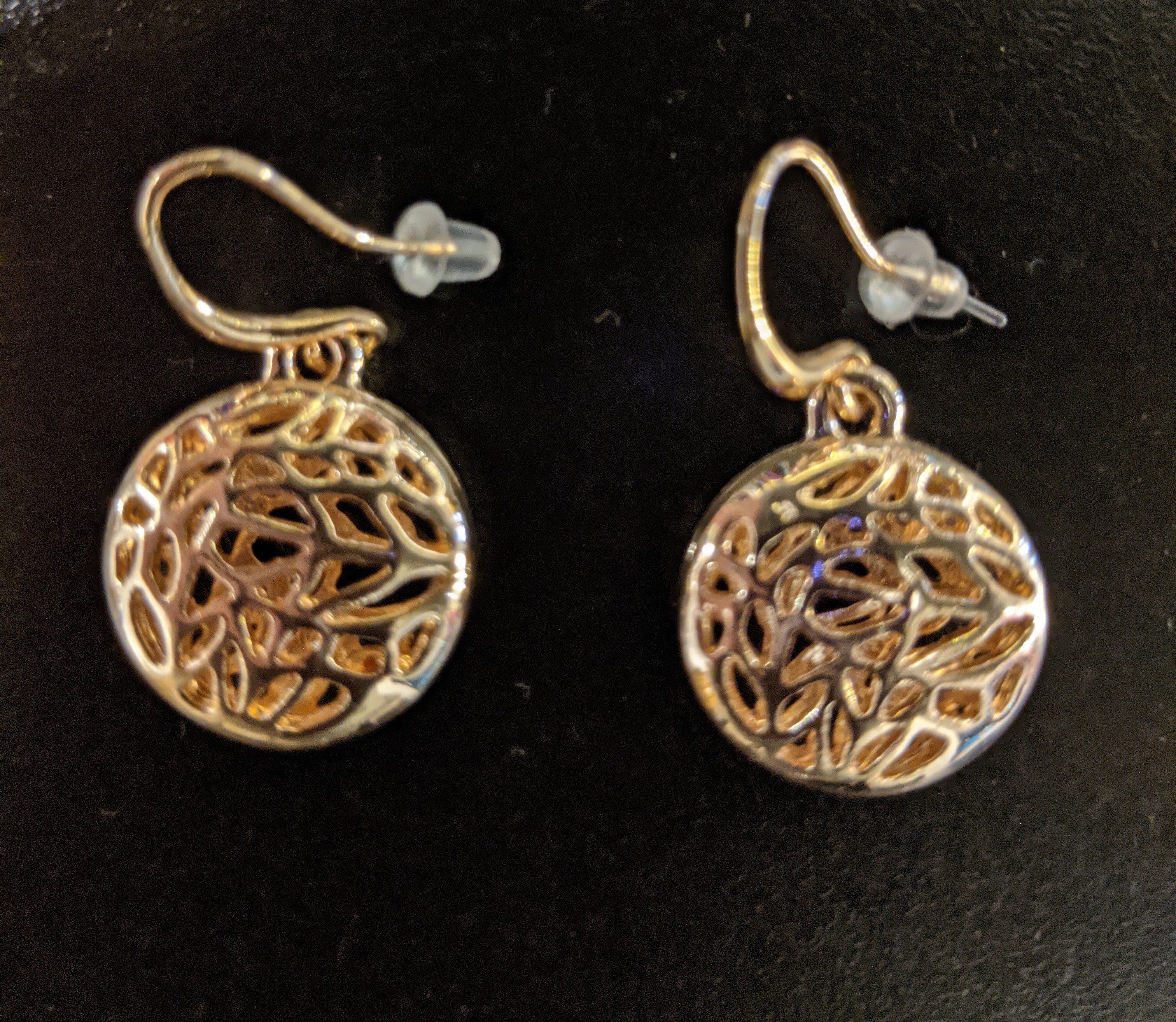3D Disc Earrings with Cut Out Abstract Detail