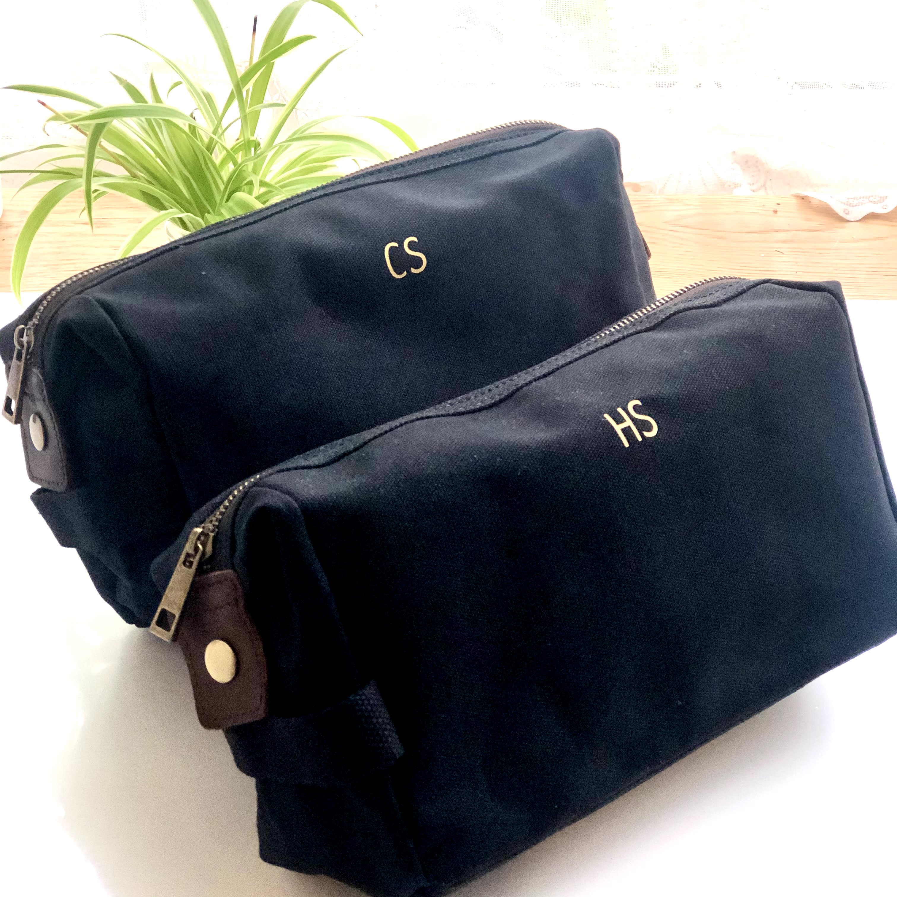 Personalised Black Waxed Canvas Wash Bag with Leather Trims