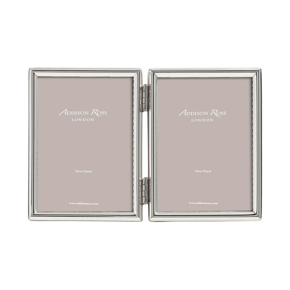Addison Ross Fine Edged Silver Double 2x3 Photo Frame