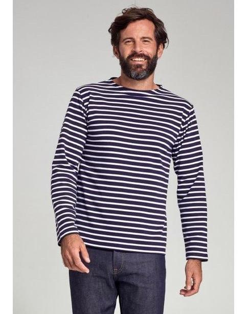 Armor Lux - Striped Long Sleeve Top Thick Cotton - Navy/Natural 2/ S