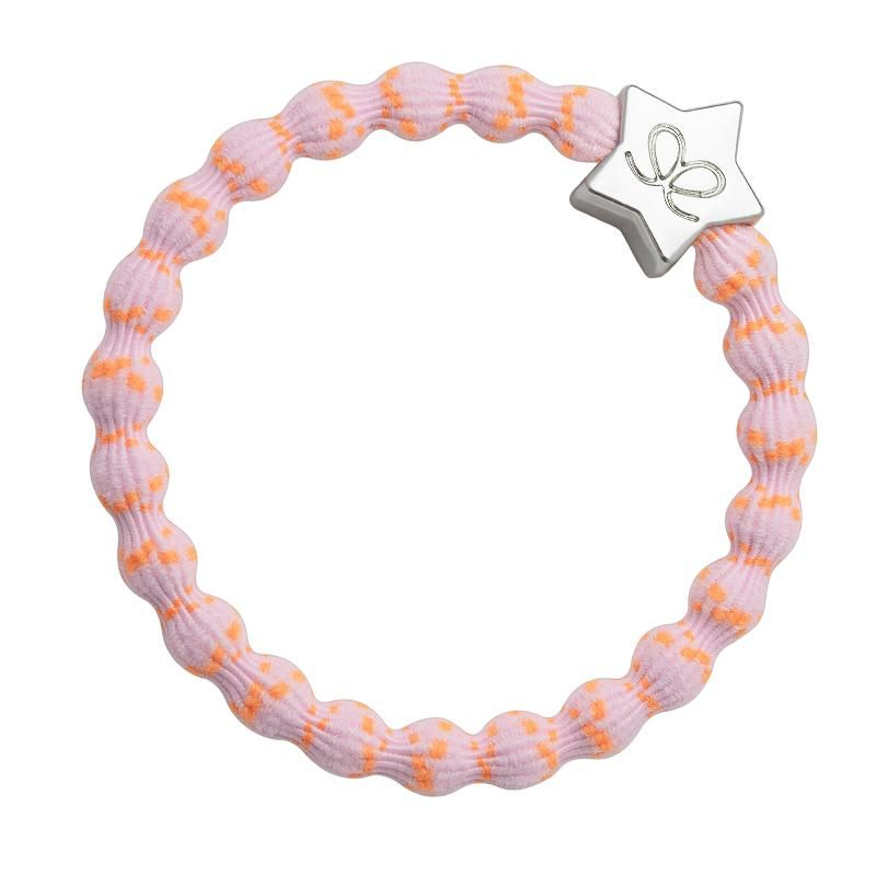 By Eloise Silver Star Bangle Band - Orange on Pink