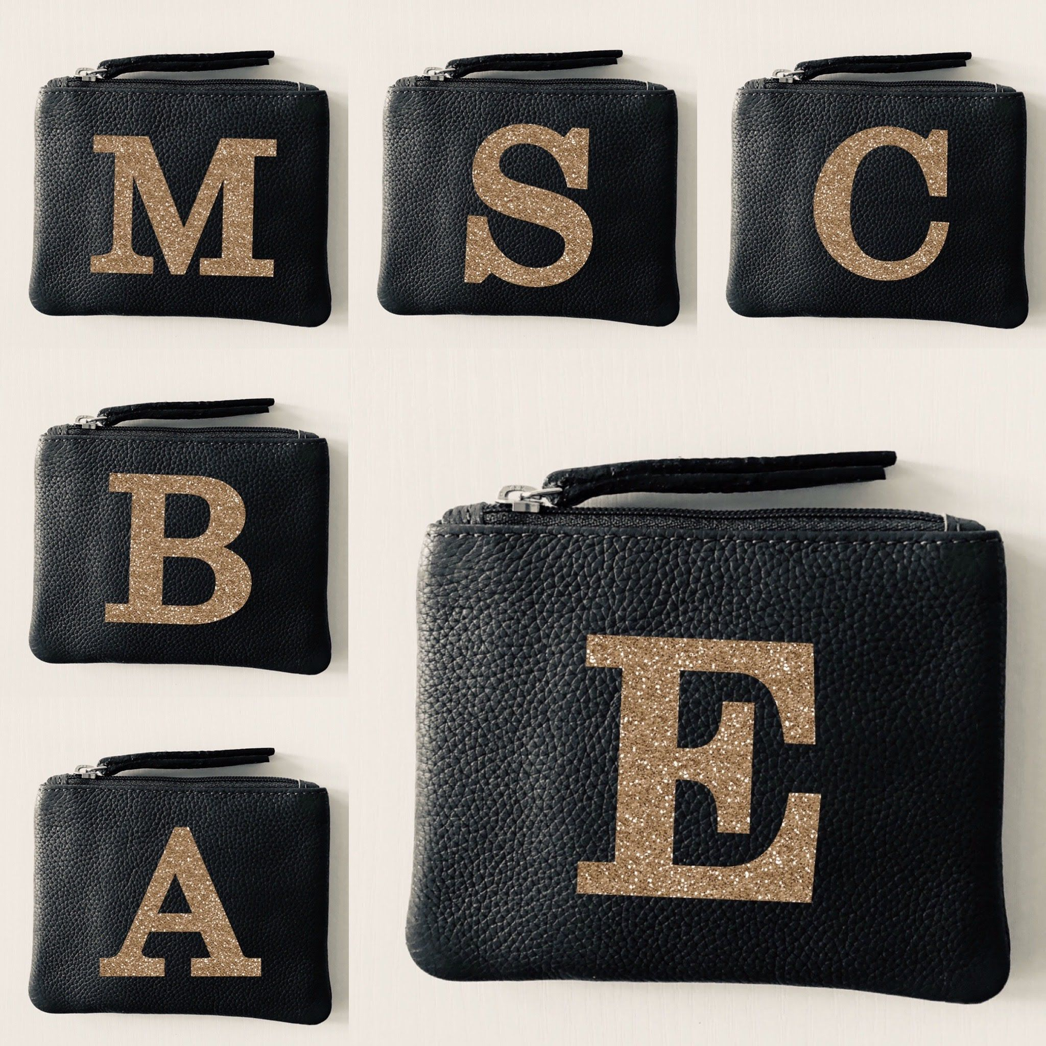 Alphabet Personalised Leather Coin Purse LBR101-Letter-1 Gold