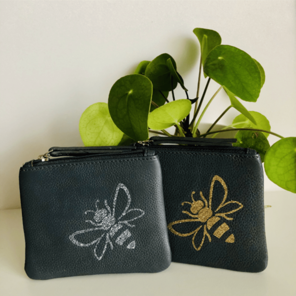 Bee Personalised Leather Coin Purse LBR101-Bee-1 Gold