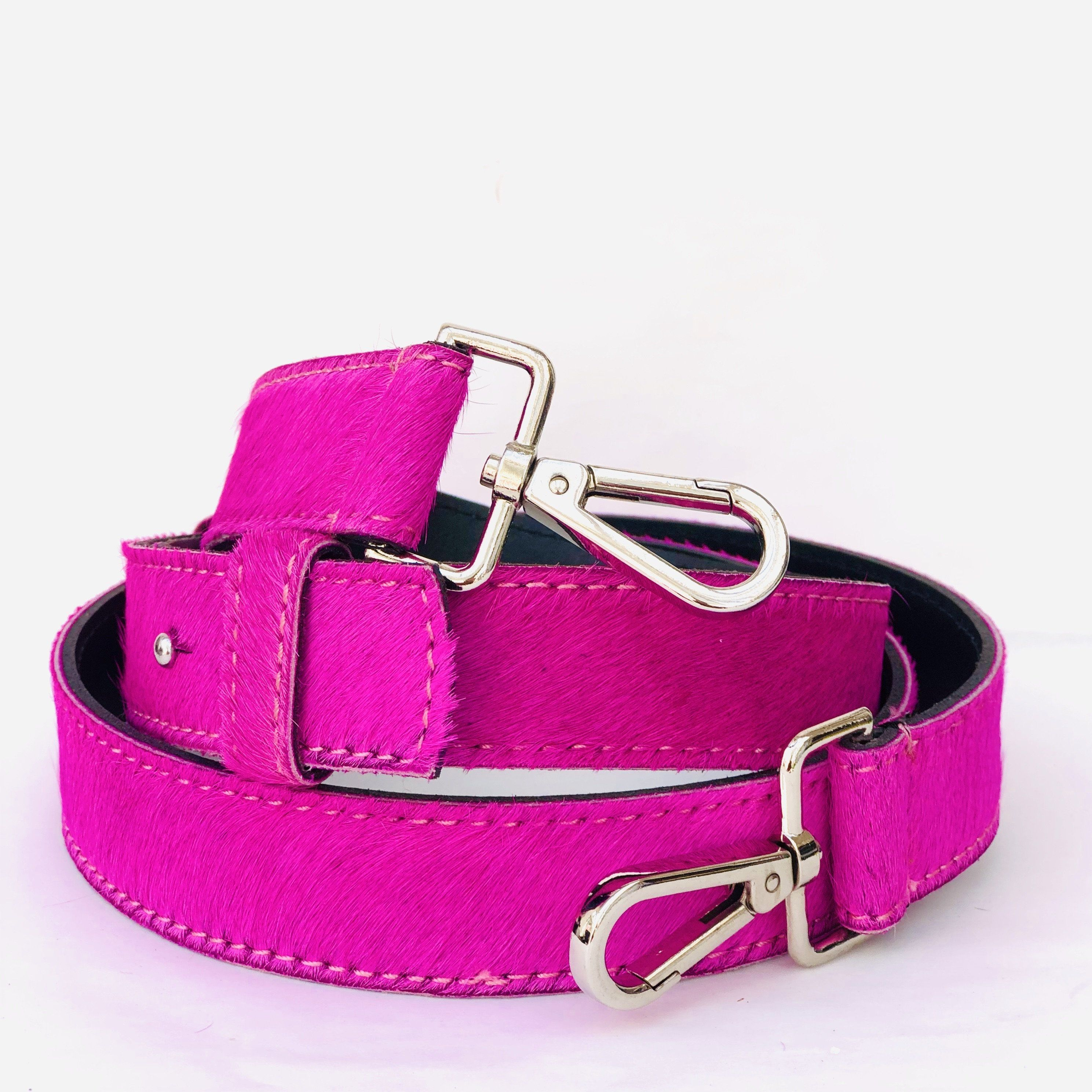 Neon Pink Hair On Hide Leather Crossbody Bag Replacement Strap