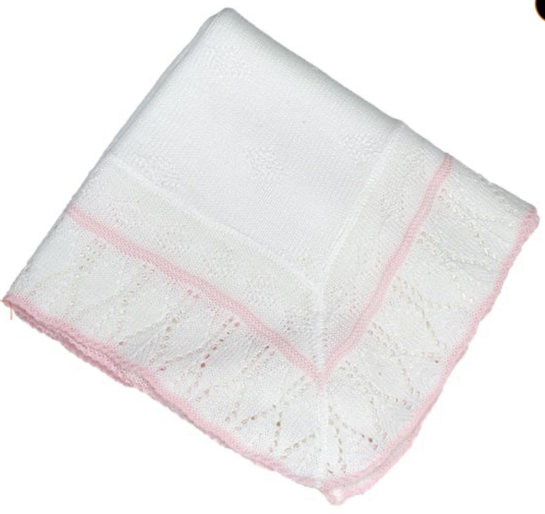 Baby Blanket/Shawl edged in pink or blue Blue