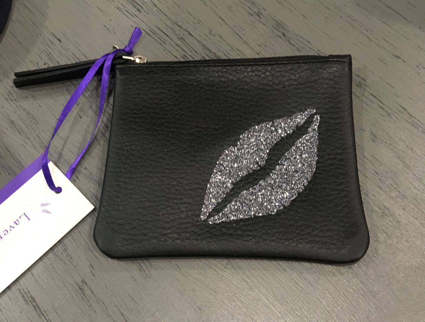Black Leather Sparkly Lips Coin Purse BLACK - NA