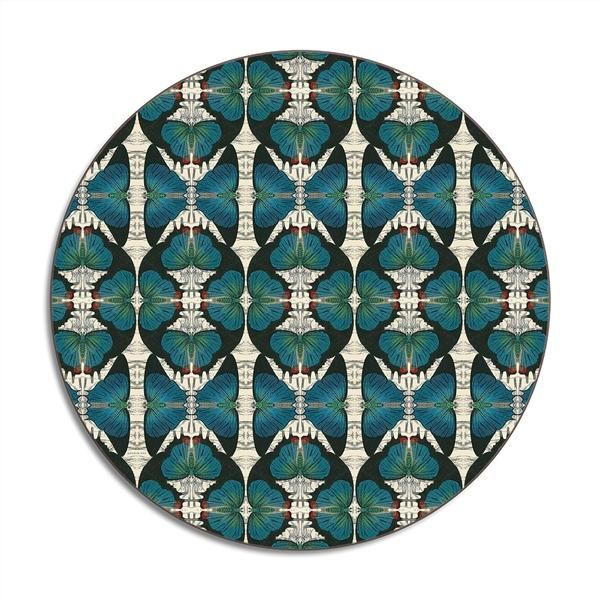 Avenida - Blue Butterfly Round Placemat