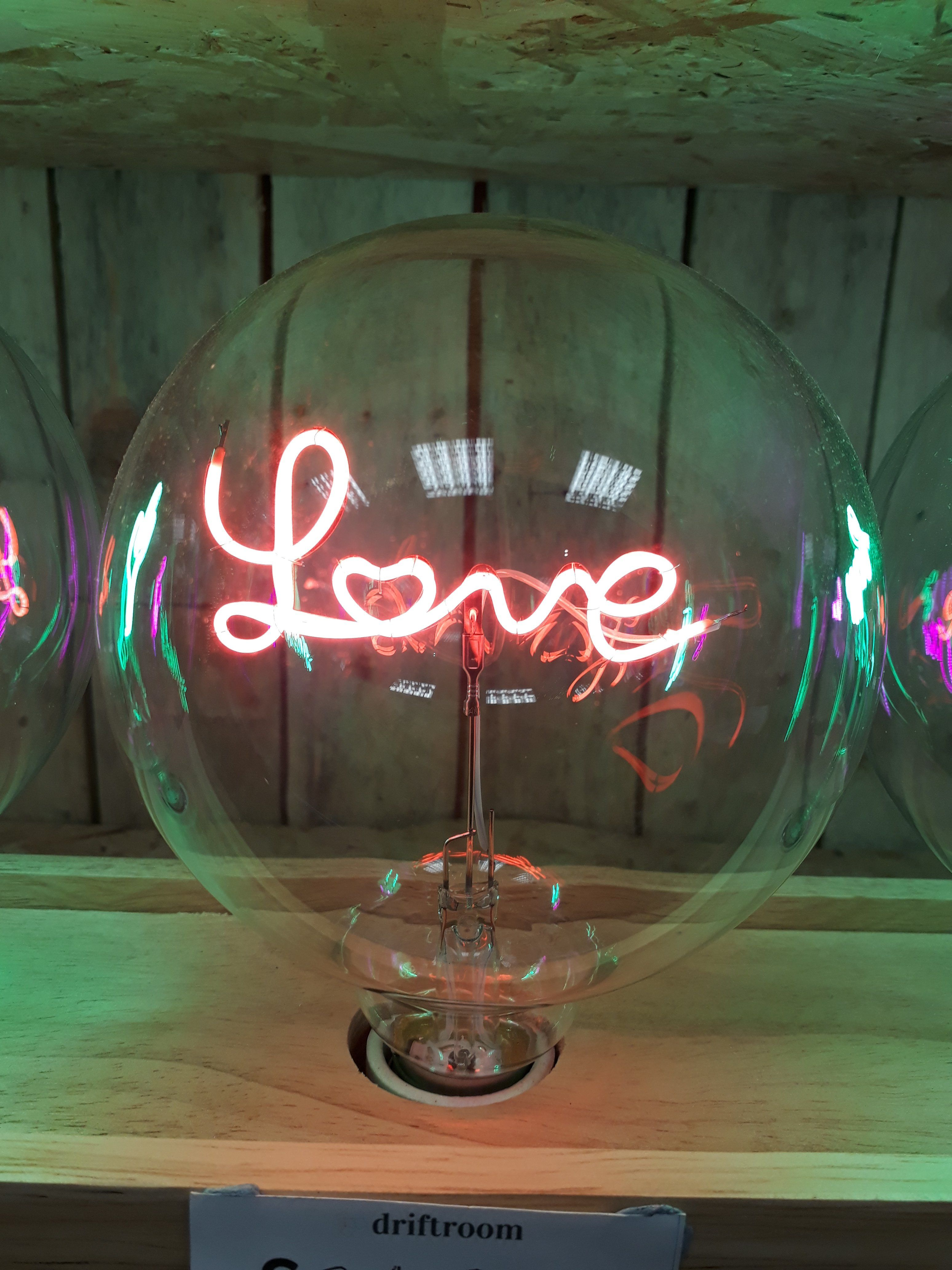 Amber Bright - LED Message in a Bulb - Love - Upright BULB