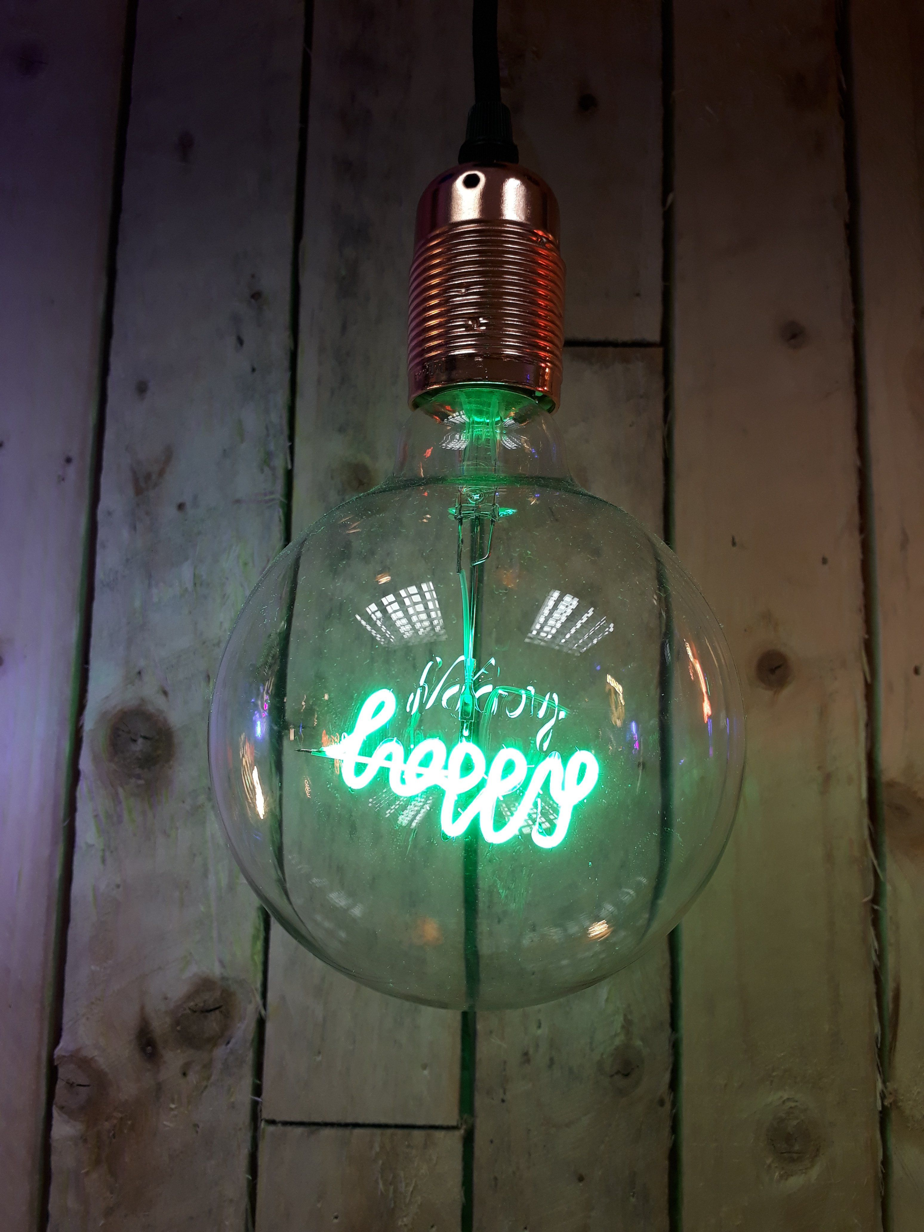 Amber Bright - LED Message in a Bulb - Pendant - Happy (bulb only)