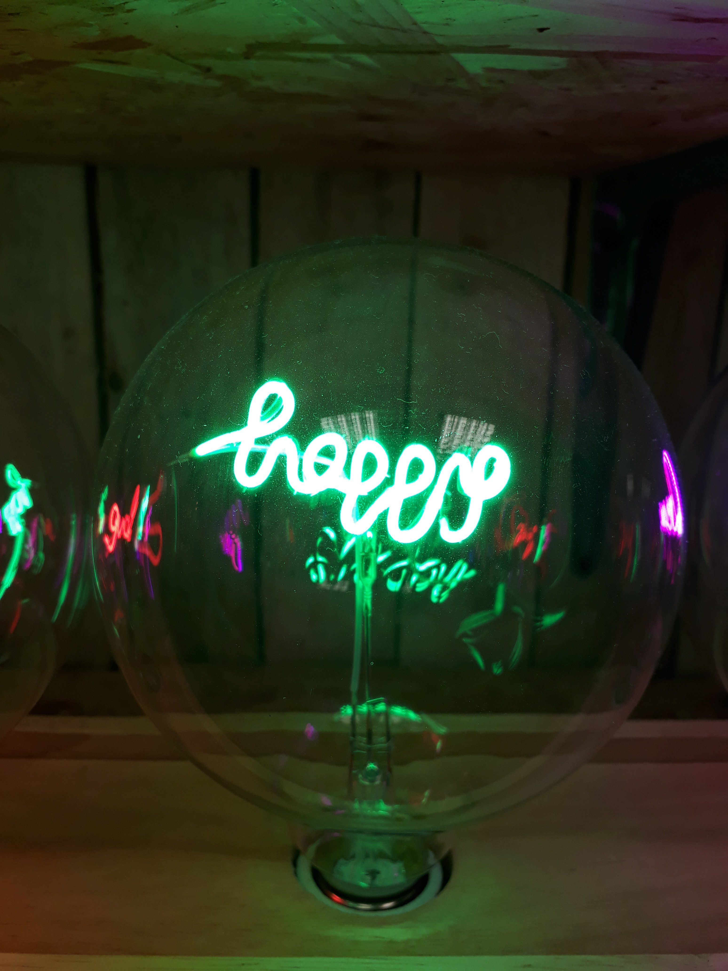 Amber Bright - LED Message in a Bulb - Table Light - Happy - Upright