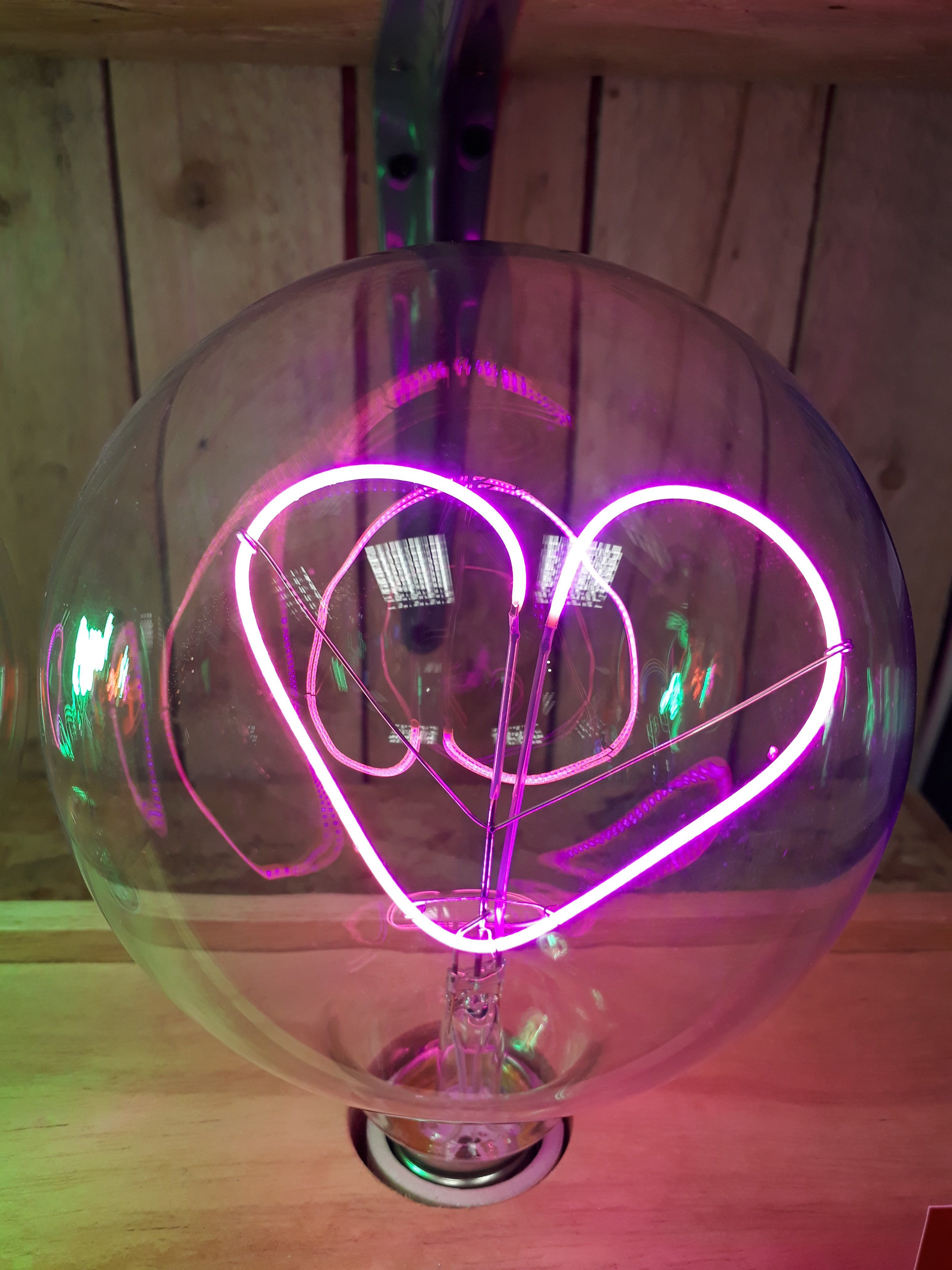 Amber Bright - Message in a Bulb - Table Light - Love Heart - Upright (Bulb only)