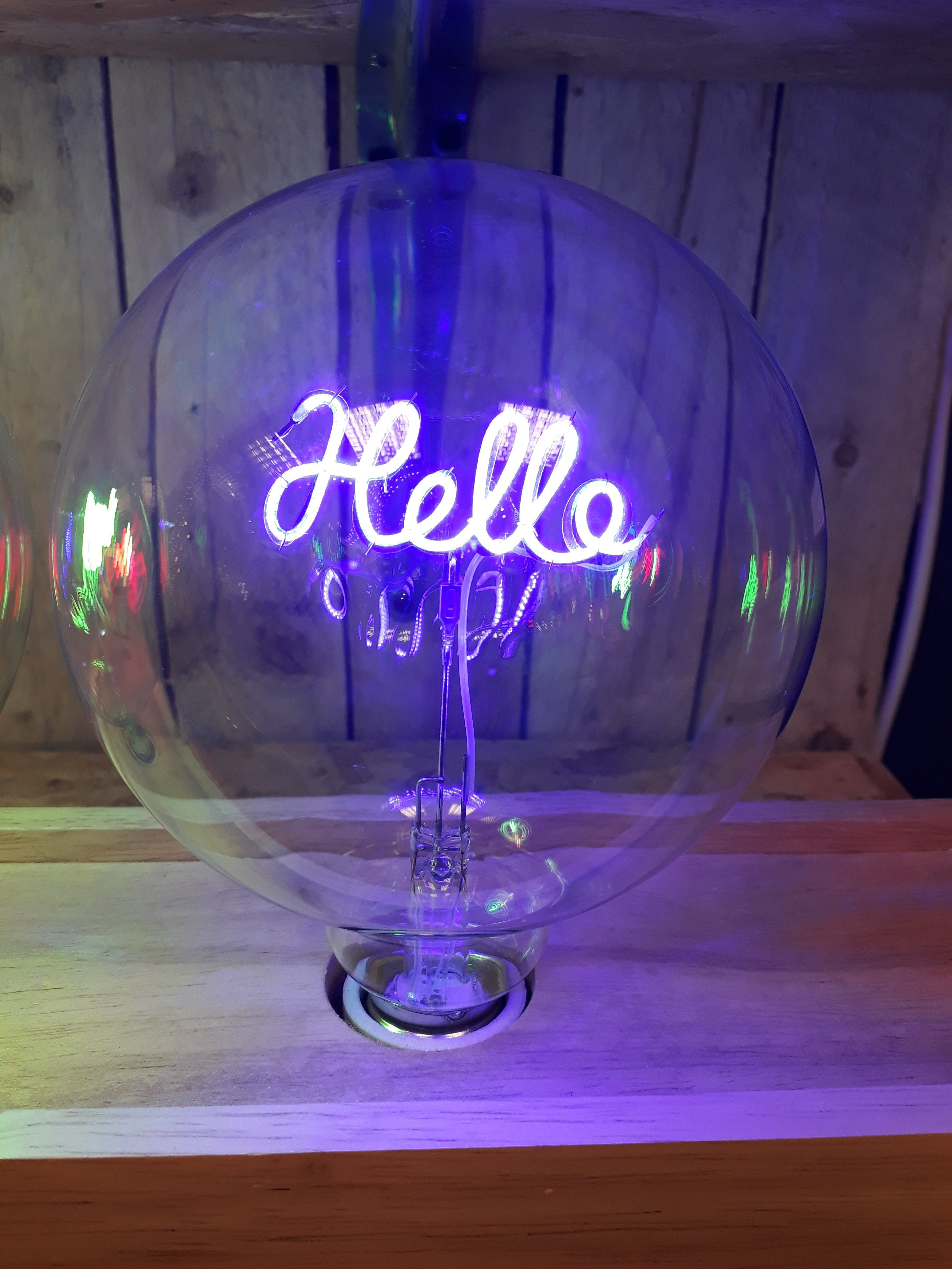 Amber Bright LED Message in a Bulb - Table Light - Hello Upright (bulb only)