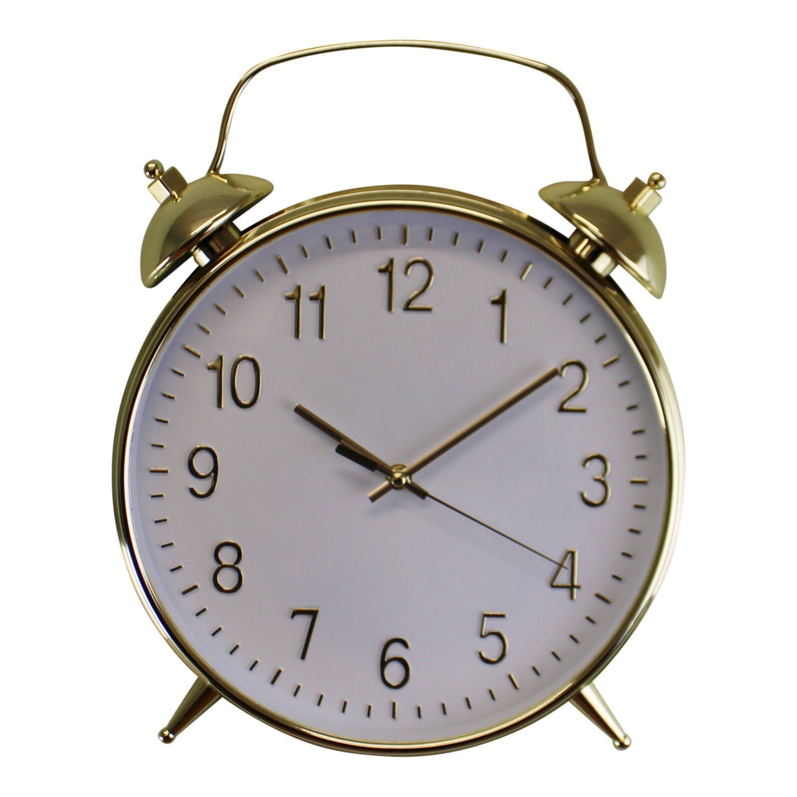Alarm Style Gold & White Wall Clock