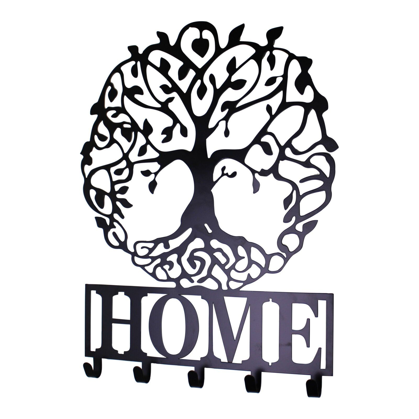 Black Metal Wall Plaque Tree of Life Featuring Hooks