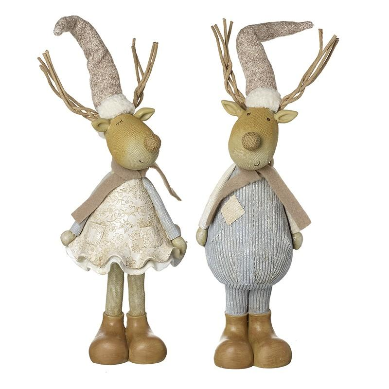 Boy And Girl Reindeers In Long Hats