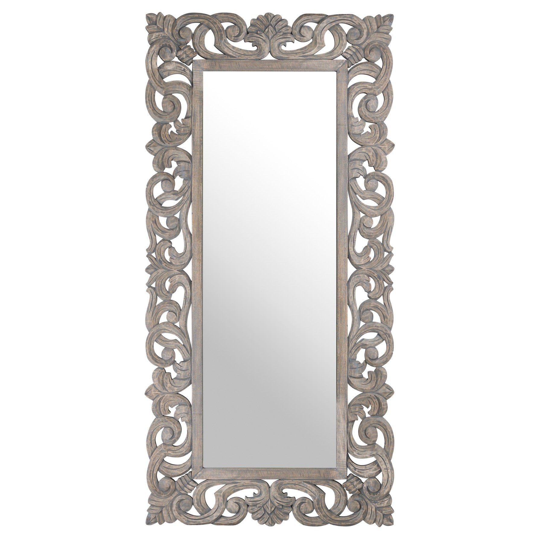 Colonial Grey Painted Hand Carved Hard Wood Mirror