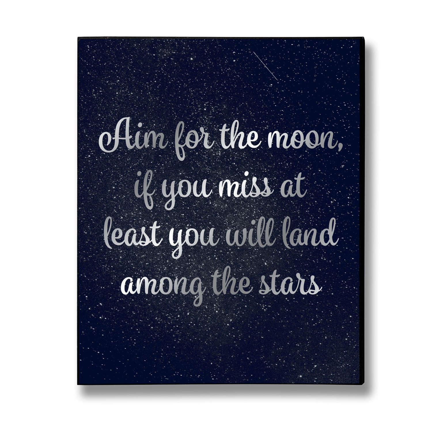 Aim For The Moon Silver Foil Plaque