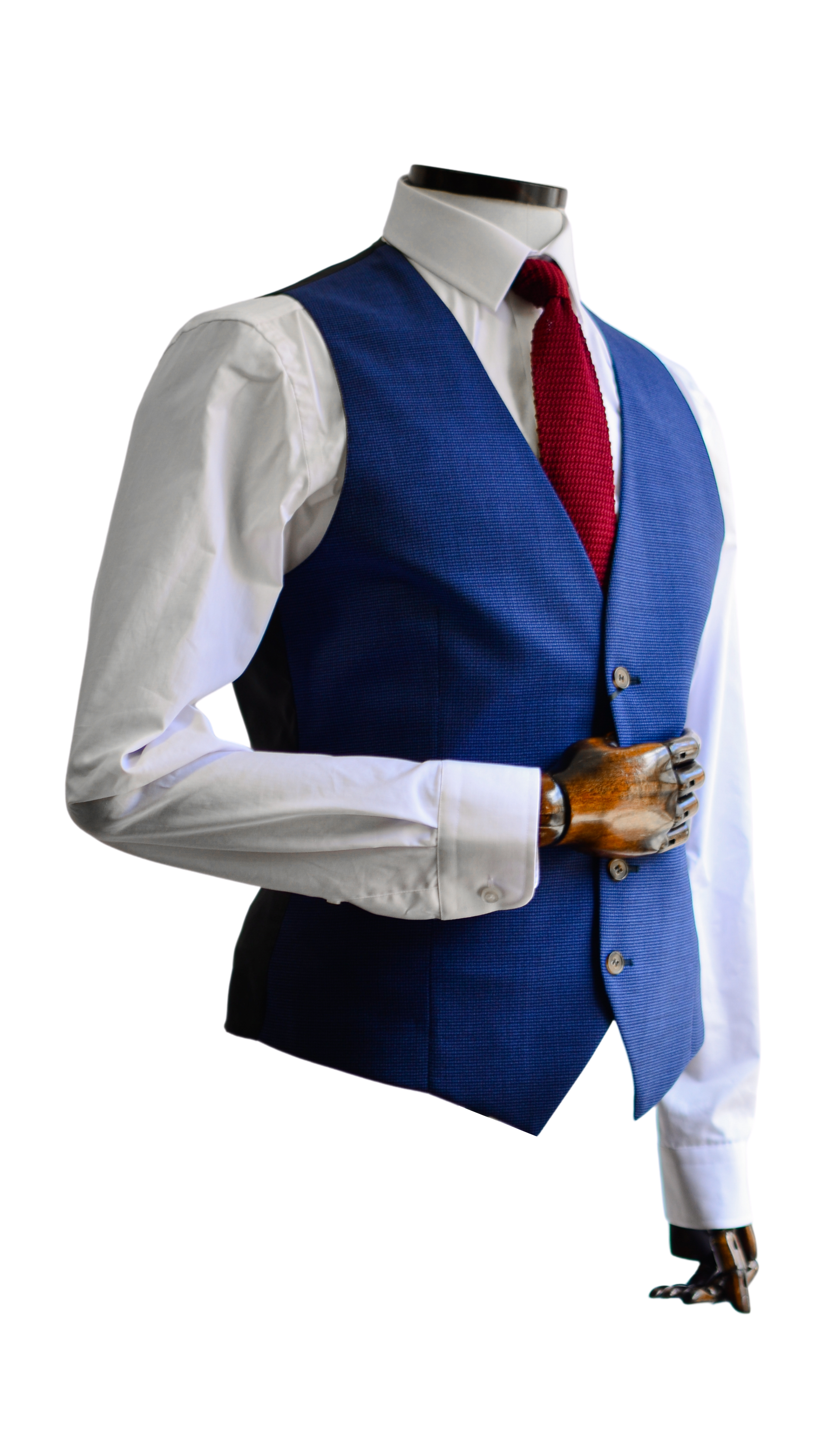 Blue & Black Micro-Houndstooth Suit Waistcoat 36 R