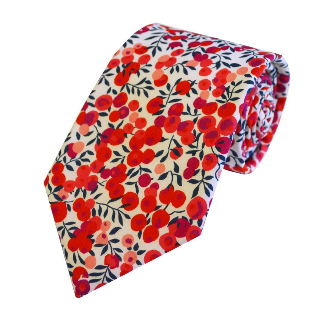 Blue & Red Floral Liberty Print Cotton Tie