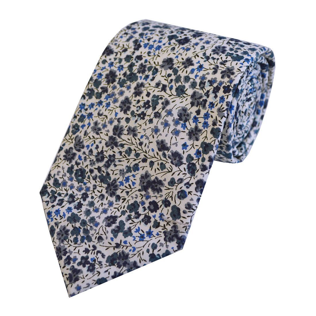 Blue and Grey Floral Liberty Tie