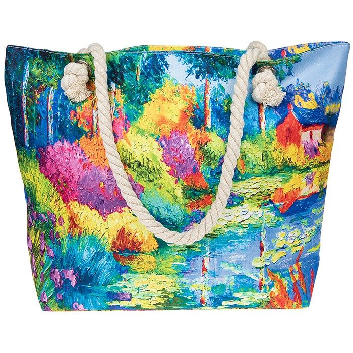 Impressionist Garden Painting Beach Bag Tote Bag