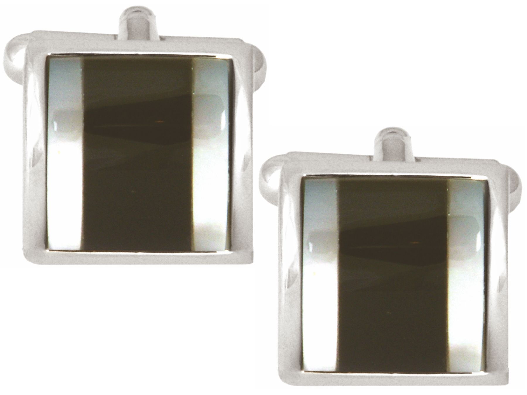 Onyx & Mother of Pearl Square Curved Cufflinks