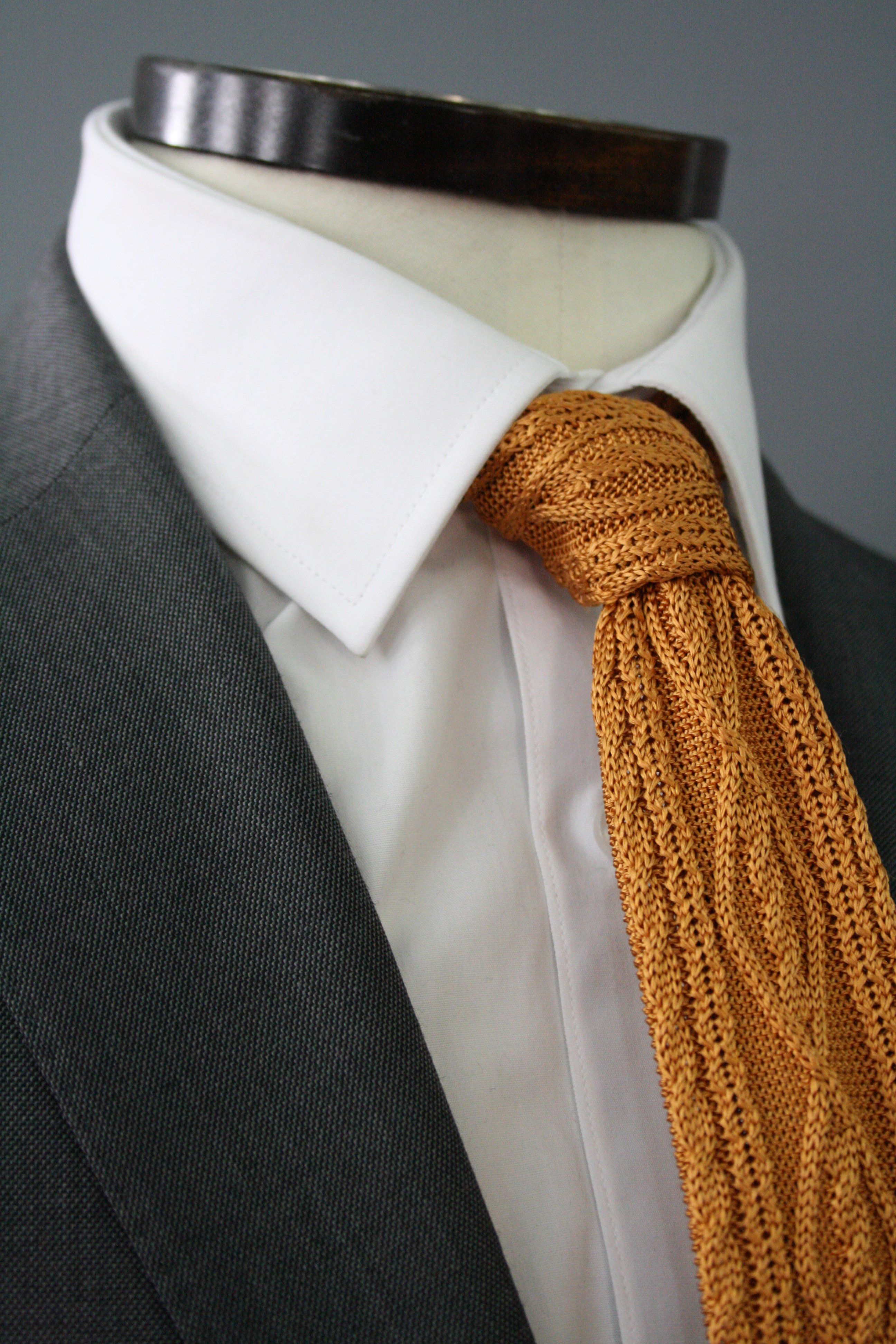 Mustard Cable Knitted Silk Tie