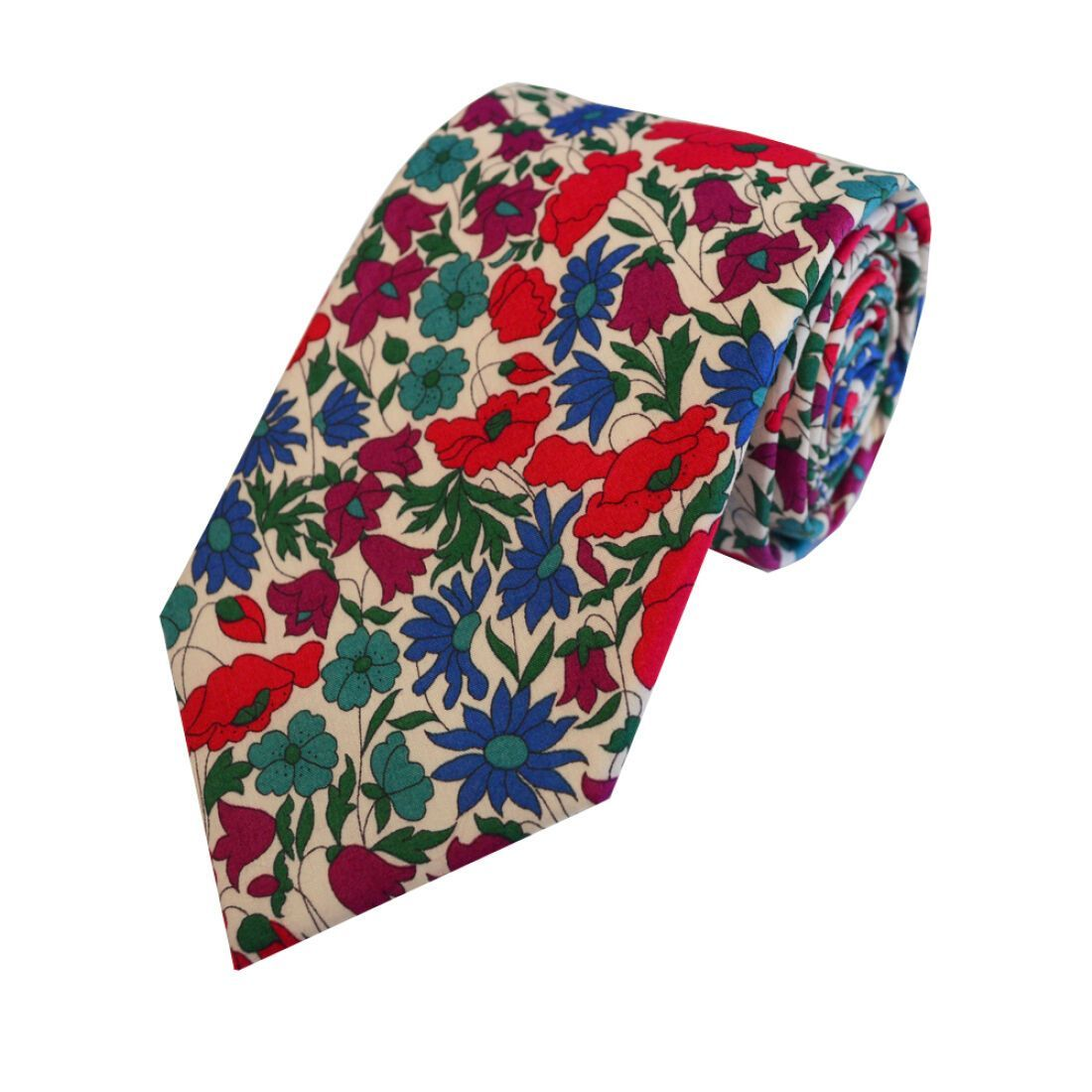 Liberty Red Blue and Green Floral Tie