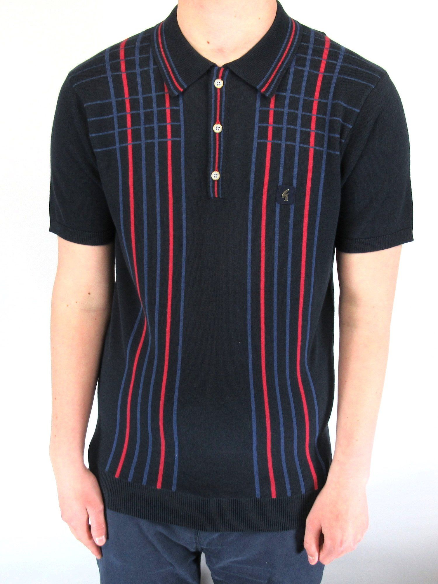 Bale Navy & Red Checked Stripe Knitted Polo Shirt 2XL