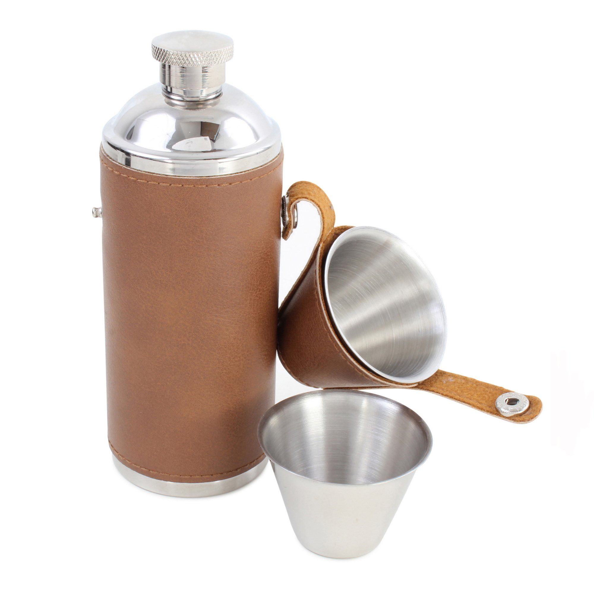 Brown Hunter-Style Hip Flask
