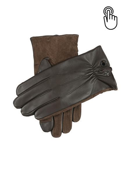 Brown Touchscreen Leather Gloves L
