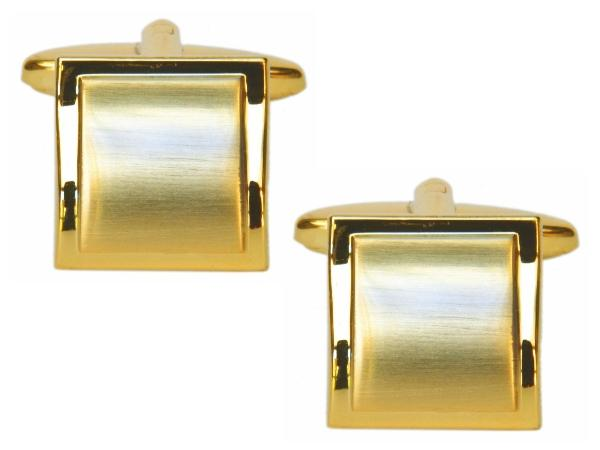 Brushed Gold Square Curved Cufflinks